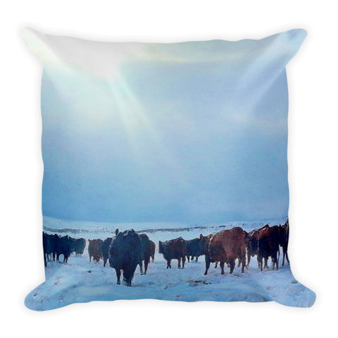 Wyoming Winter Push Throw Pillow