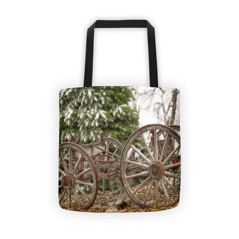 Wagon in Winter Tote bag