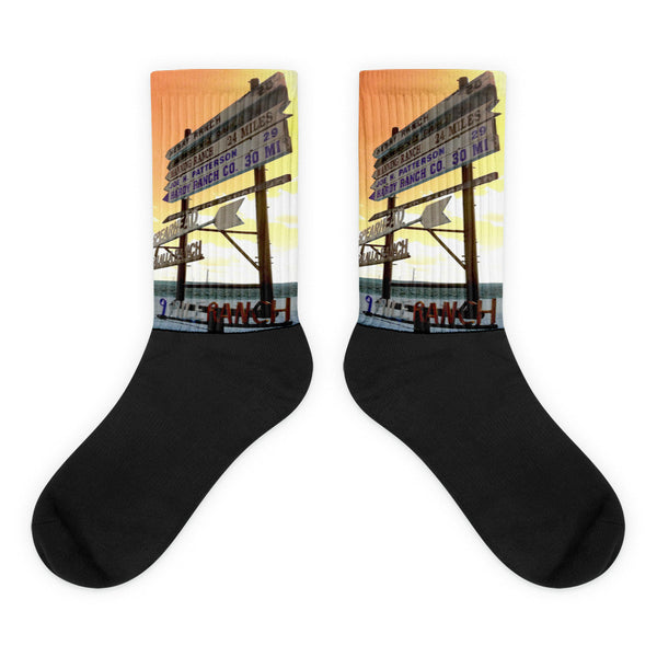 Wyoming Ranch Directions - Black foot socks