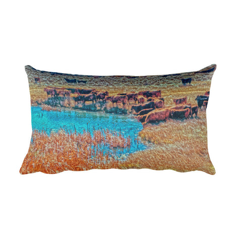 Cattails, Cattle And Sage Rectangular Pillow
