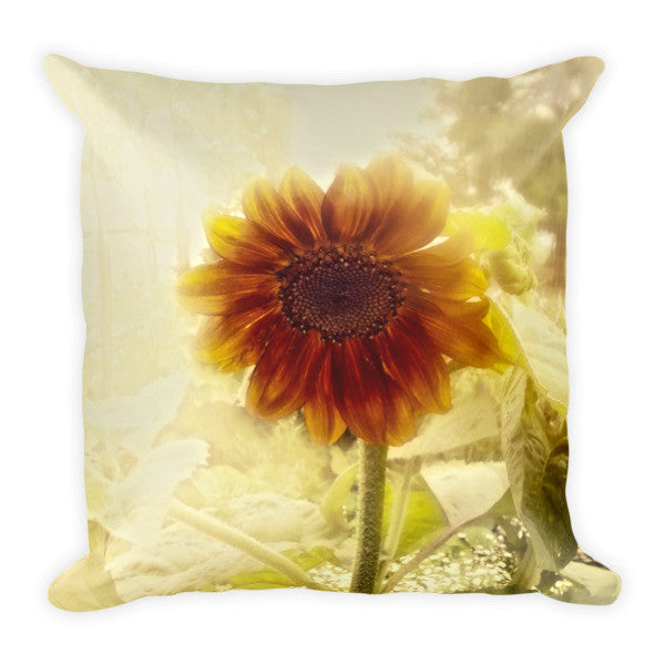 Dusty Retro Sunflower Throw Pillow