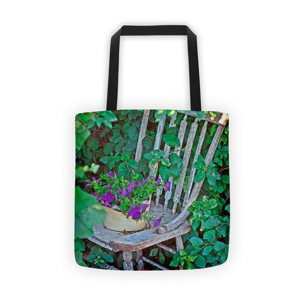 Old Chair New Petunias Tote bag