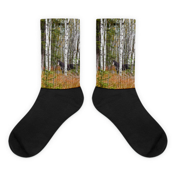 Black and White in Aspen Black Foot Socks