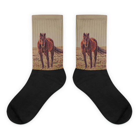 Rust And Prairie Wise - Black foot socks