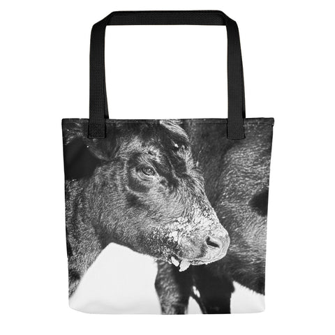 Black and White on Angus Tote bag