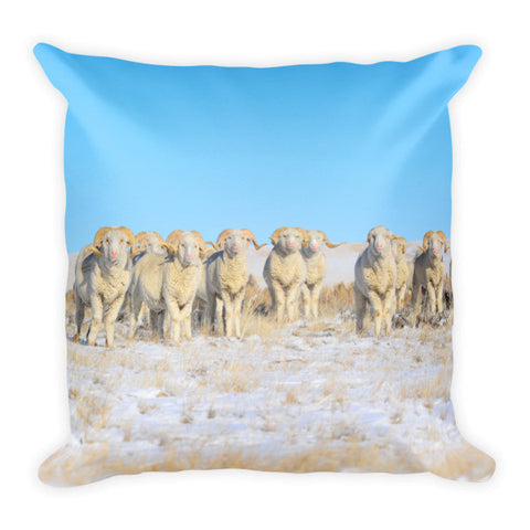 Line Em Up Rams Throw Pillow