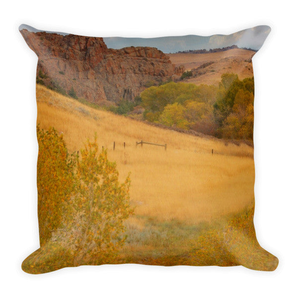 Powder River Fence Throw Pillow