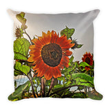 Sunflowers and Storm Throw Pillow