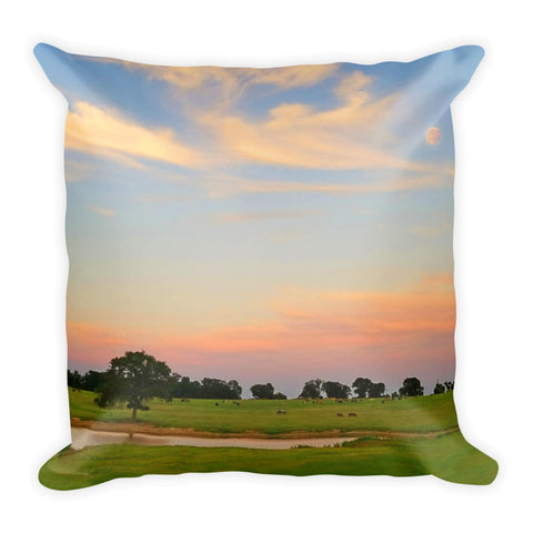 Ranch Setting with Moon Throw Pillow