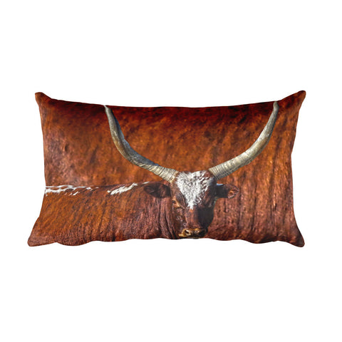 Watusi Blues in Rustic Red Rectangular Pillow