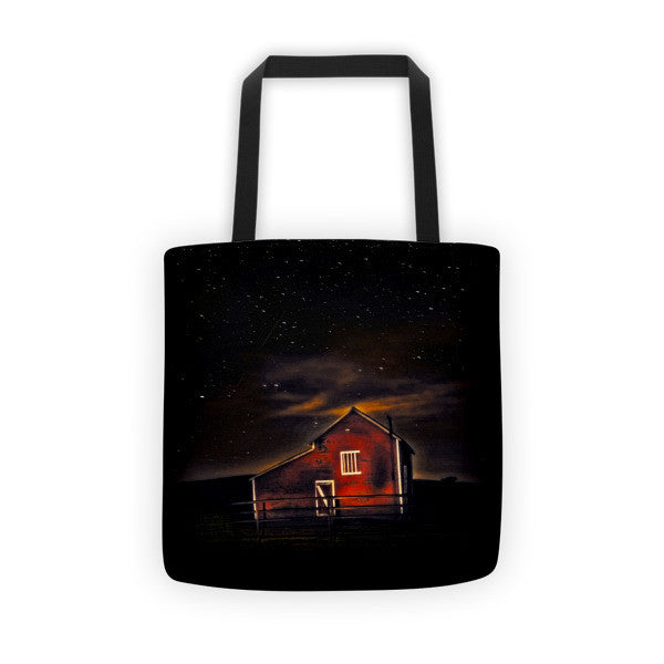 Red Barn at Midnight Tote bag