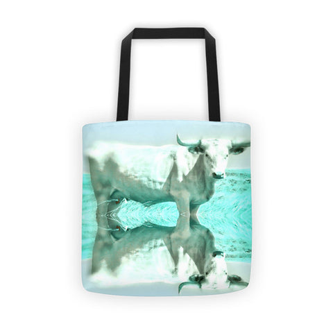 Turquoise and Steer Tote bag