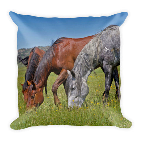 Grass Grazing Time Throw Pillow