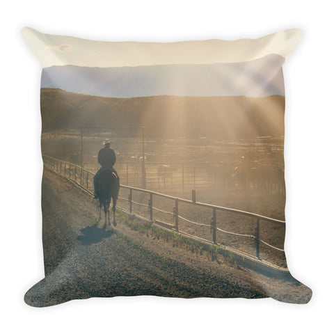 Checking the Lot at Sunset Throw Pillow