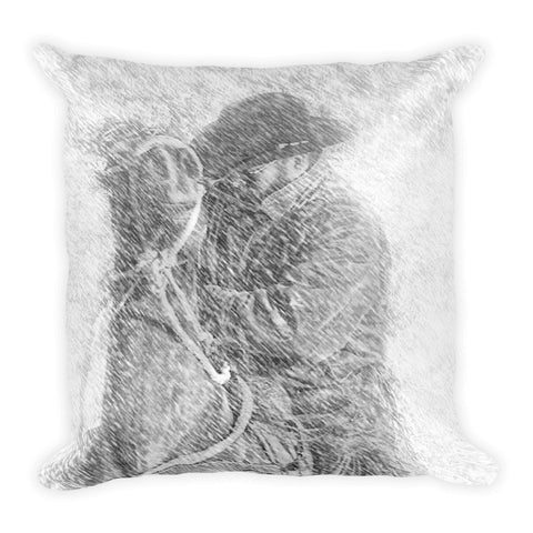 Winter Cowboy Throw Pillow