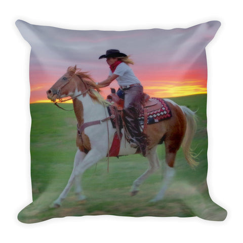 Racing the Sunset Throw Pillow