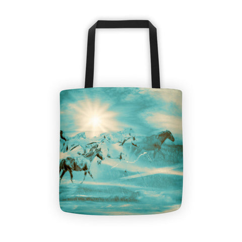 Turquoise Run in Spirit Tote bag