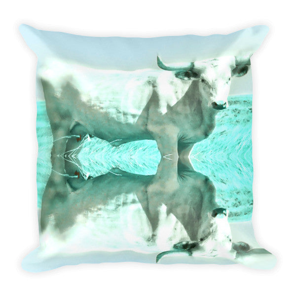 Turquoise and Steer Throw Pillow