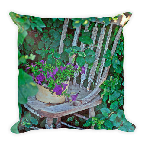 Old Chair New Petunias Throw Pillow