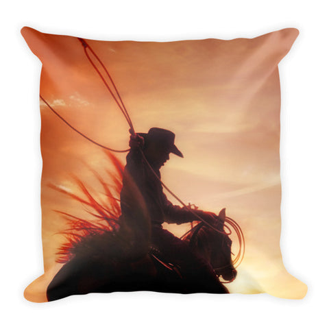 Sunset Roper Throw Pillow