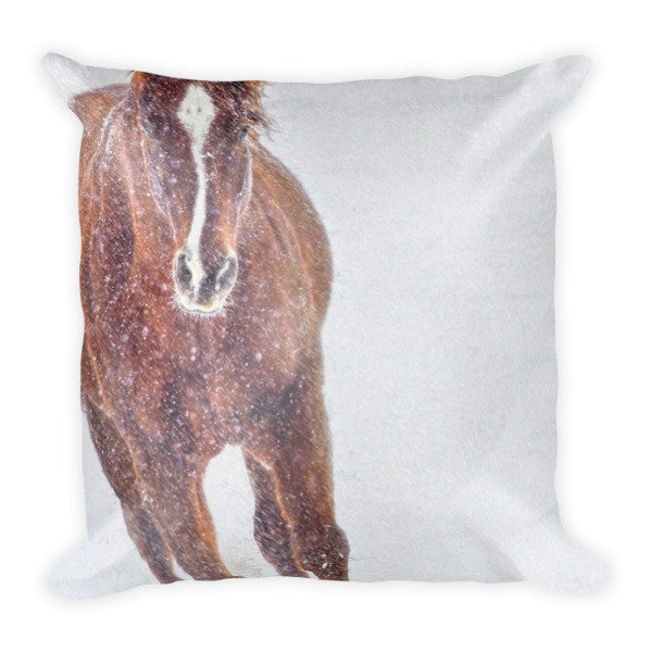 Sundancing in the Snow Throw Pillow