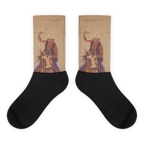 Rope 'em  While They're Hot - Black foot socks
