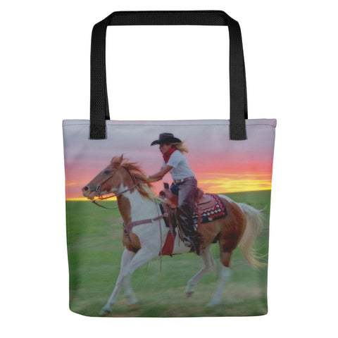 Racing the Sunset Tote bag