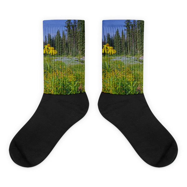 Gold and Pines - Black foot socks