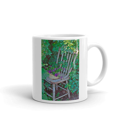 Old Chair New Petunias Mug
