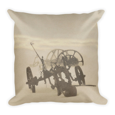 Plow in Blizzard Throw Pillow