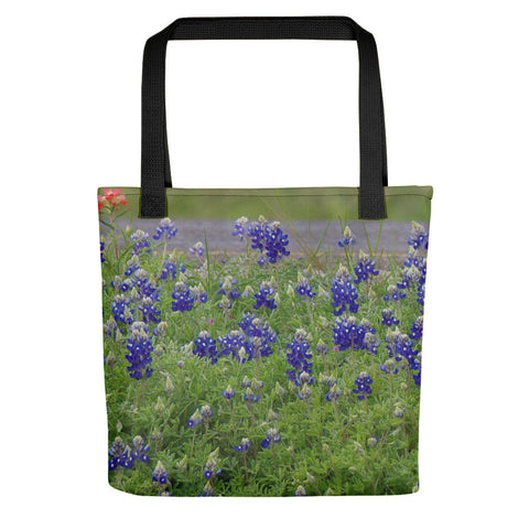 Red Paint over Blue Bonnets Tote bag