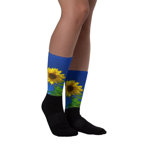 Maize 'N Blue - Black foot socks