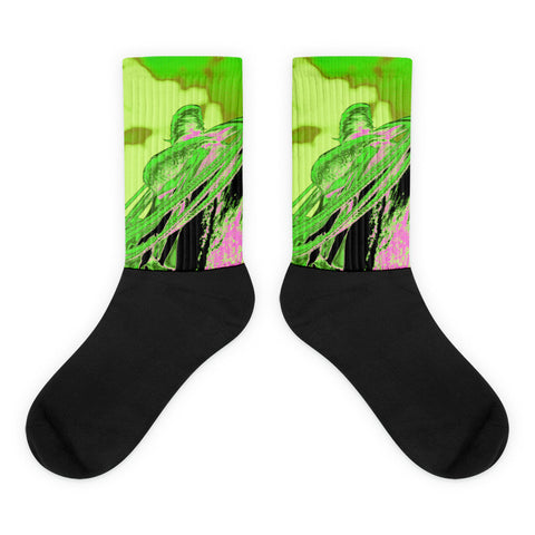 Saddle Electric Pink - Black foot socks