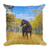 Aspen Gold in Black and White Throw Pillow