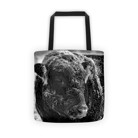 Snow Covered Ice Bull Tote bag