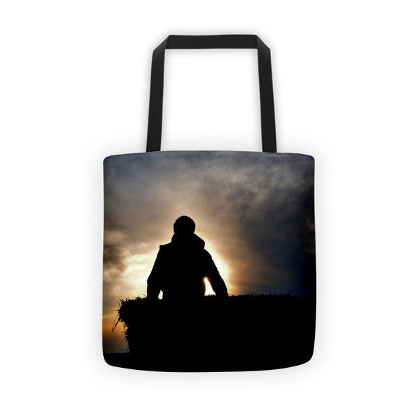 Bucking Hay At Sunrise Tote bag