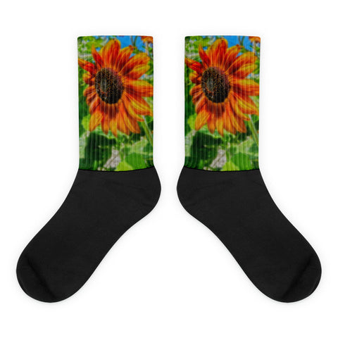 Sun Shower Sunflower - Black foot socks