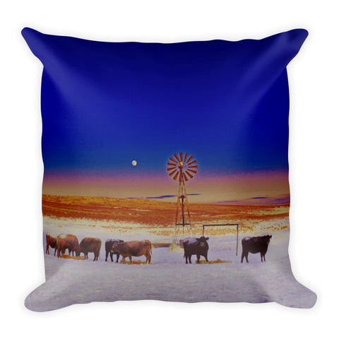 Windmill and Cows Night Feed Throw Pillow