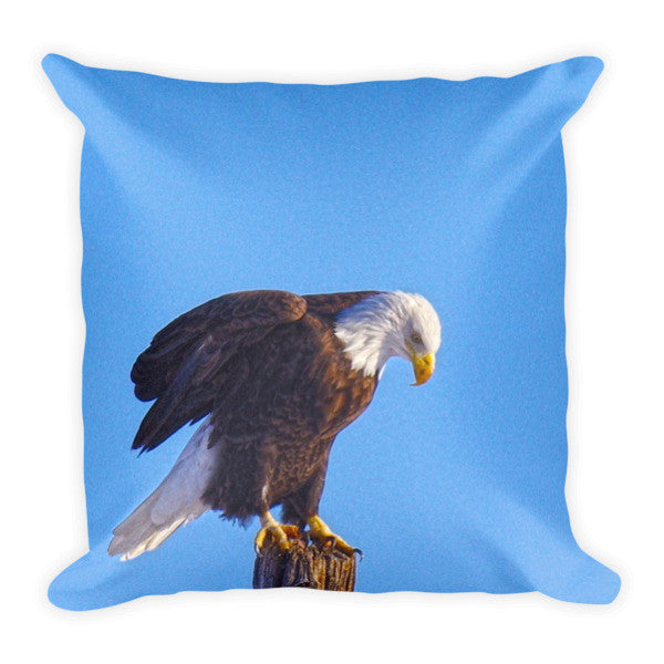 Preparing for Patriotic Flight Eagle Throw Pillow