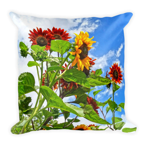 Rustic Sunflowers Throw Pillow