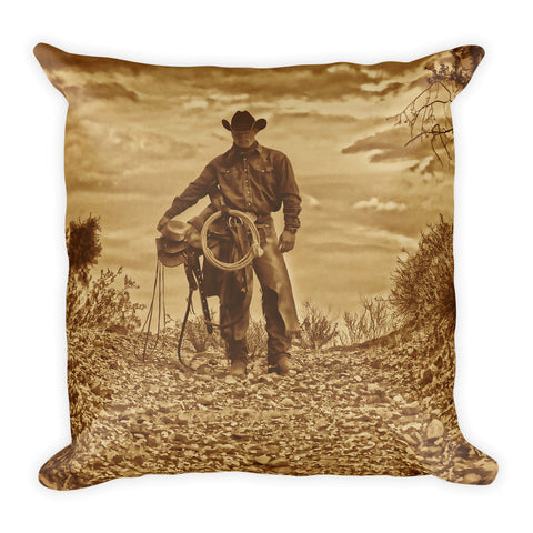 Sepia Cowboy Throw Pillow