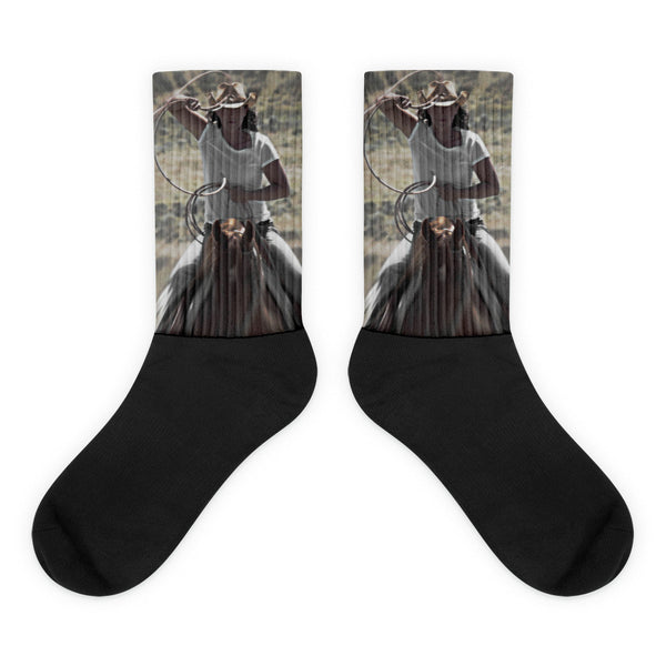 On a Rope and a Prayer - Black foot socks