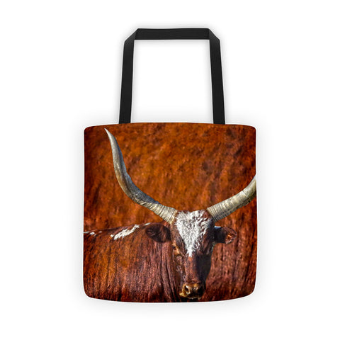 Watusi Blues in Rustic Red Tote bag
