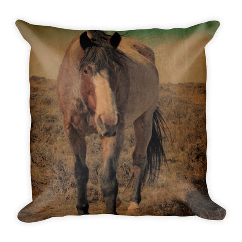 Red Roan and Sage Brush Throw Pillow