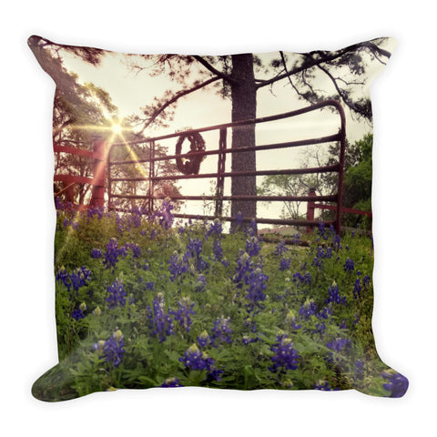 Blue Bonnet Gateway Throw Pillow