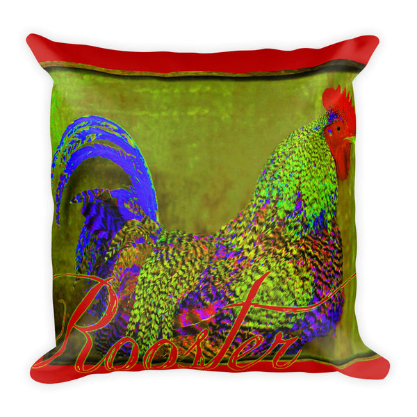 Bert the Rooster Red Throw Pillow