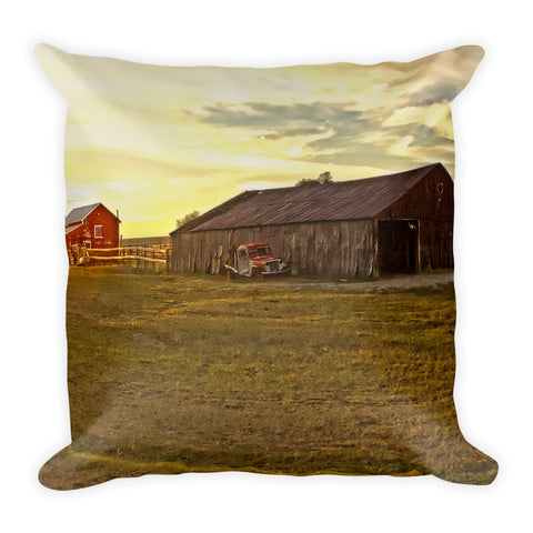 Leuenberger Barn at Sunset Throw Pillow