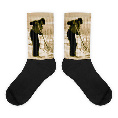 Breaking Wyoming Ice - Black foot socks