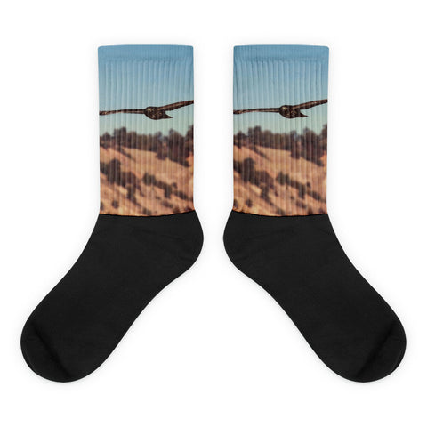 Have You Never Seen a Hawk on the Wing - Black foot socks
