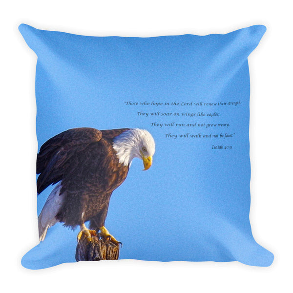 Preparing for Patriotic Flight Eagle Inspirational Throw Pillow